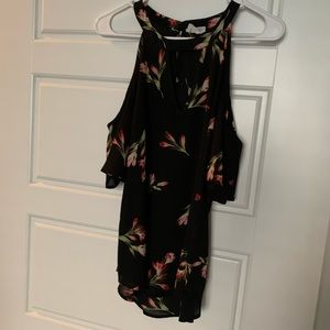 Black floral off the shoulder top, Small